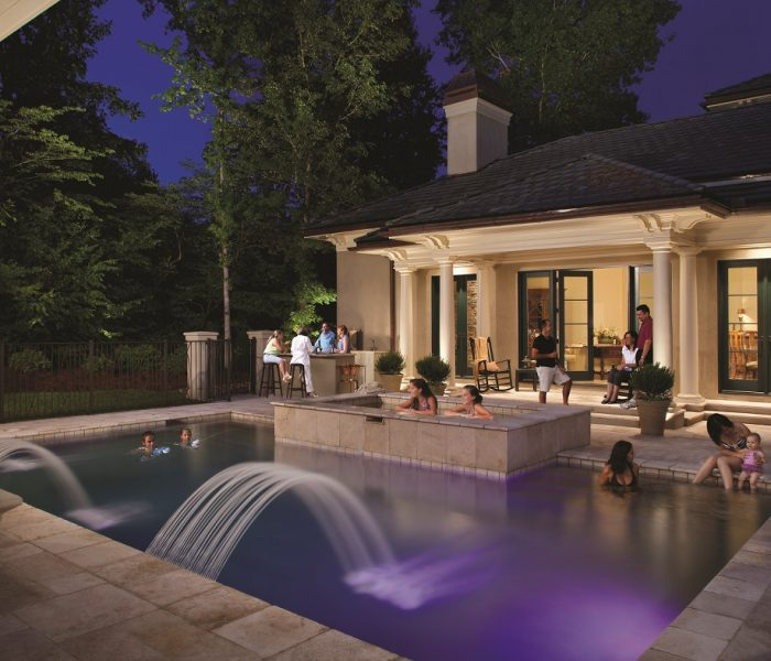 Outdoor Lighting Perspectives, part of the Outdoor Living Brands product offerings provides exceptional and dramatic outdoor lighting for any project, including the pool and outdoor living area of this contemporary residence in Charlotte, North Carolina.